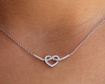 Infinity Heart - Sideways Cz Infinity Necklace, Sterling Silver or 14k Gold, Figure Eight, Everlasting Love, Love, Gift, BFF,