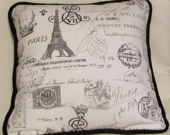 Country French English Cottage Toile Stamp Pillow Provence White Black Check Plaid