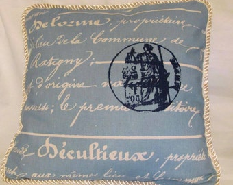 Shabby Country French Cottage Pillow Romantic Chic Blue Ivory Script Stamp