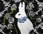 Clay Tile, White Rabbit with Blue Necklace, ceramic tile, 4x4 and 6x6