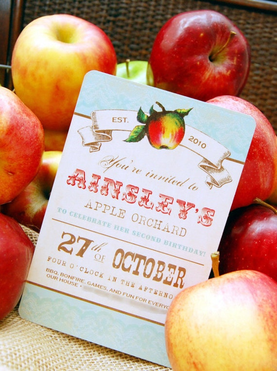 Apple Orchard Invitation Vintage Apple Birthday By Beeanddaisy