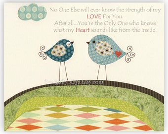 No One Else Will Ever Know The Strength of My LOVE For You Nursery Art, Baby Room Decor, Birds