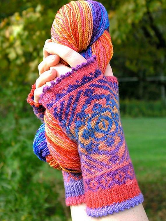 Namaste Fingerless Mitt Colorwork Knitting Pattern