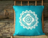 "turquoise burlap pillow cover / vintage doilie / 16"" x 16""  /cottage chic shabby chic/vintage inspired / accent pillow / rustic / home decor"