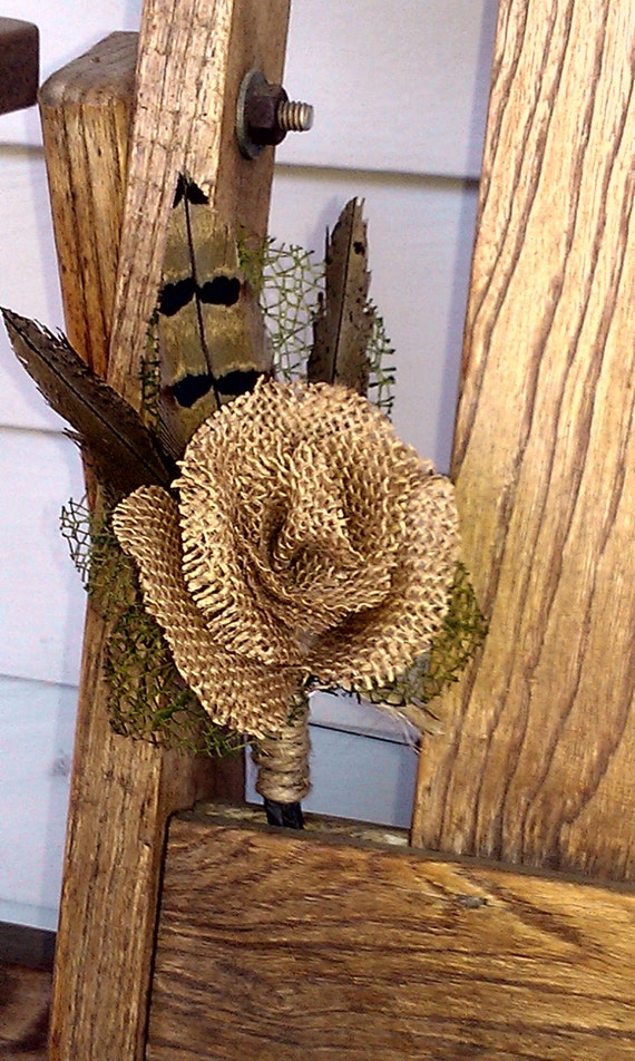 Hand-made burlap wire stemmed rose