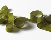 "Dusty Olive Seam Binding Ribbon - Vintage Original Hug Snug - 3 / 6 / 12 Yards - Kiwi Green - Packaging - Gift Wrap Craft Supply - 1/2"" Trim"