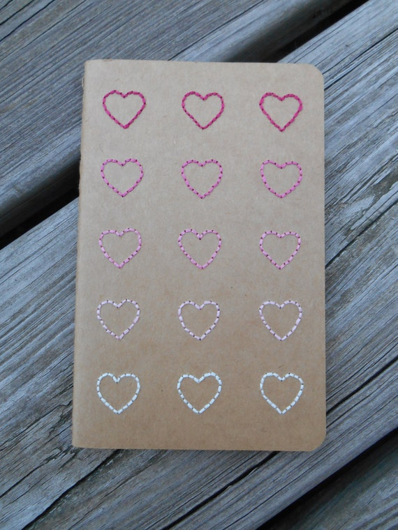 Hand Embroidered Moleskine Notebook - Hearts