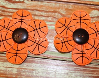 Basketball Flower Hair Clips (Set of Two) - 3""