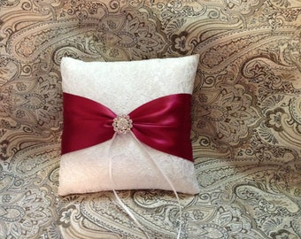 ivory or white lace with wine color ring bearer pillow