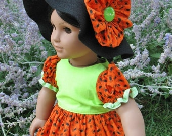 Halloween Costume Dress and Witches Hat w/flower for amerian girl or any 18 inch doll