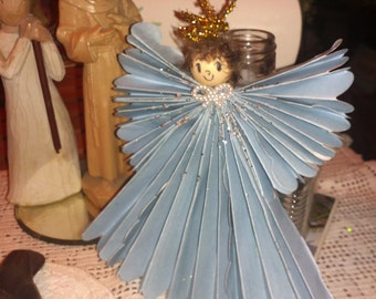 Christening Angel Ornament Handmade from Decorative Paper