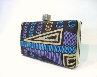 African fabric evening box clutch bag - black, purple, gold