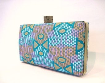 Box clutch bag - turquoise, pink and orange