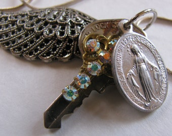"One of a Kind Necklace ""With Help and Love from the Angels"" Silver Chain"