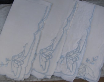 Four Beautiful Vintage Linen Napkins Cutwork Trimmed with Baby Blue Embroidery