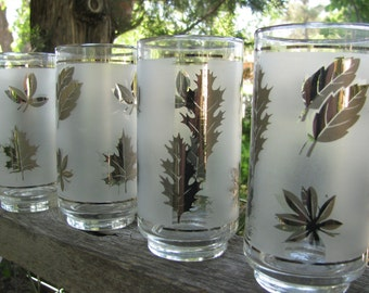 Sale! Sale! Sale! Hollywood Regency Barware 1960's Glassware Libbey Silver Leaf Marked Down 8 glasses in Set
