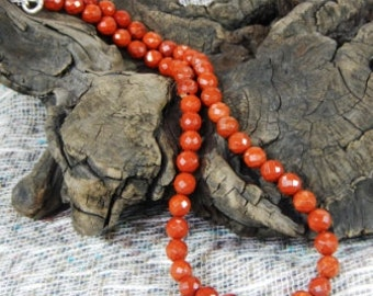"""Faceted Red River jasper necklace 18"""" long rustic semiprecious stone jewelry packaged in a colorful gift bag 10511"""