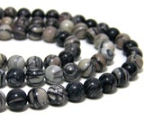 8mm round silk stone gemstone bead, black and white, HALF strand, 533s