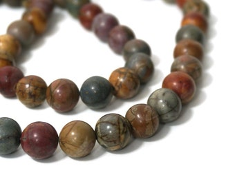 Red Creek Jasper, 10mm round natural gemstone beads, full or half bead strands available   (884s)