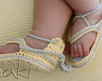 Crochet baby pattern - Baby flip flops - Permission to sell finished items. Great and cool gift. Pattern No. 102
