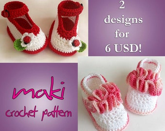 Crochet pattern baby booties - Two unique designs - Permission to sell finished items. Full of large pictures!
