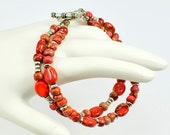 Orange - Bright - Terra Jasper - Beaded Bracelet