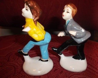 Vintage Hand Painted Retro 1950's Dancing Teenager Figurines