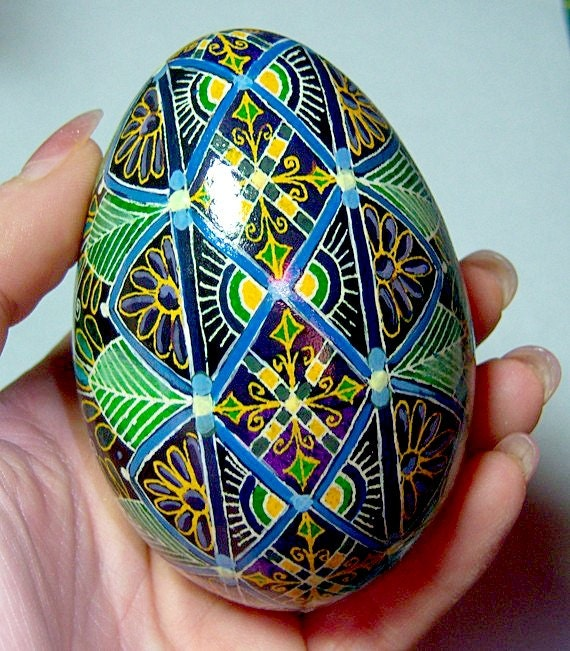 egg pysanka peacock feathers ukrainian easter egg batik