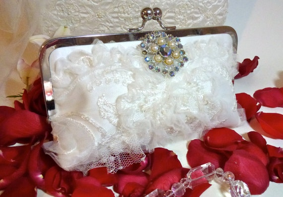 SALE Wedding Bridal Clutch Ivory Sequins Tulle and Embroidery with Vintage Brooch READY to SHIP