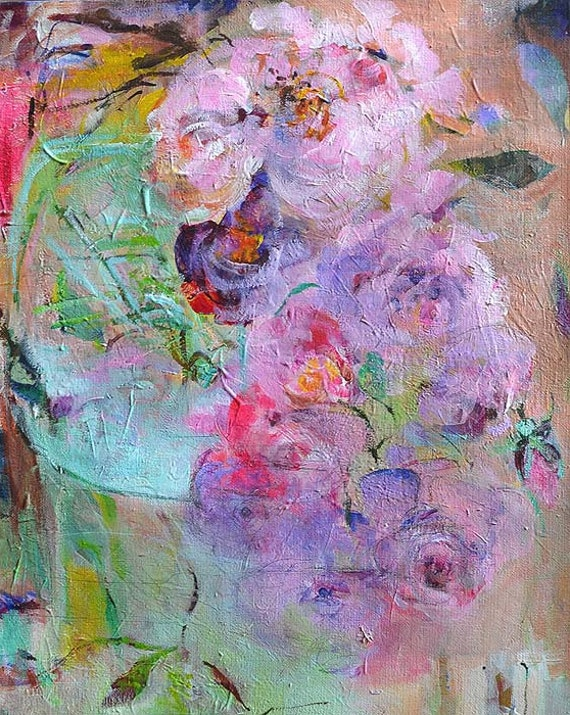 BOUQUET of Lavender ROSES Original Abstract Painting on Stretched Canvas 16,5 x 13