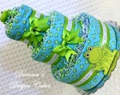 Baby Diaper Cake Frogs Shower Gifts or Centerpieces