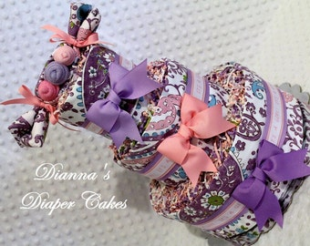 Paisley Baby Diaper Cake Girls Shower Gift or Centerpiece Select Purple or Pink