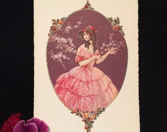 Vintage Postcard - illustration of Girl with Flowers - Pink Ruffled Dress