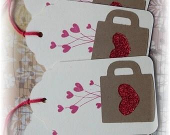 Coffee - Glitter Heart - Coffee Cup tags (4)