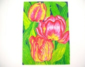 Tulips flowers fine art print, vintage handmade wall hanging, found over the rainbow in Kansas has vibrant colors red pink yellow green blue