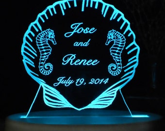 Seahorse Beach Wedding Cake Topper  -  Engraved Personalized  - Light OPTION