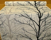 Woodland Tree Print Fabric Black Grey White Funky Upholstery weight Material by the Yard/ Metre Plenty in stock