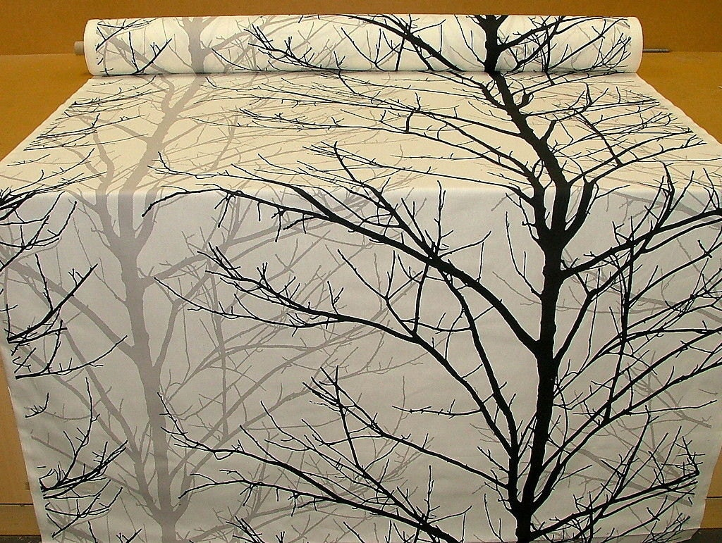 Woodland Tree Print Fabric Black Grey White Funky