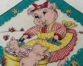 Vintage Child's Hankie Childs Hankie Hankerchief Pig Piggy Piglets Flowers Adorable