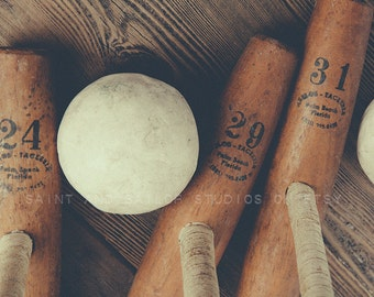 Vintage Polo Mallets 24,29 and 31  and Ball Closeup Photographic Print, Polo art, Polo Photos