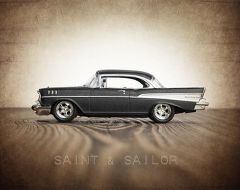 Vintage Charcoal 57 Chevy Bel Air, One Photo Print, Boys Room decor, Vintage Muscle Car Prints