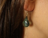 Seaweed Green Fluorite Earrings, Oxidized and Sterling Silver Components, Summer, Beach Earrings, Natural Stone