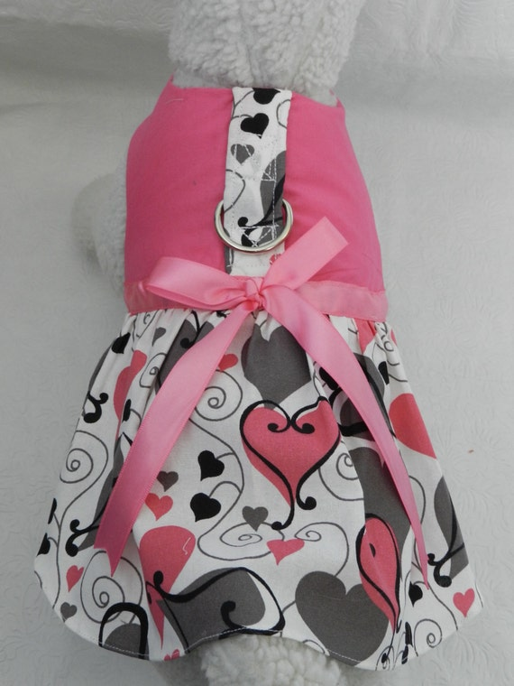 Cat Harness/Dress with hearts