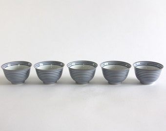 Set of 5 Striped Porcelain Bowls