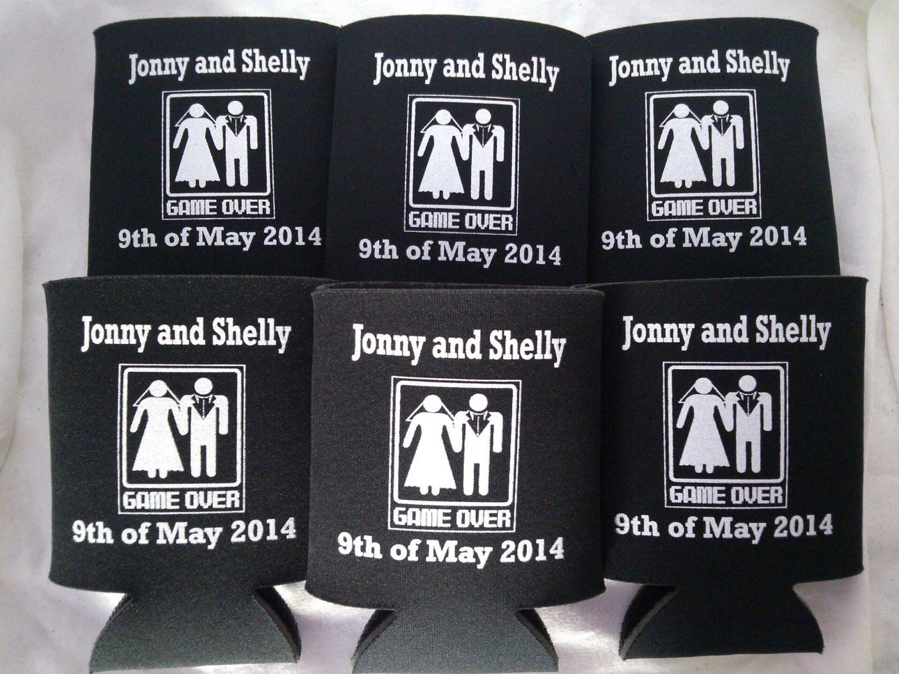 Wedding koozies game over personalized lot by odysseycustomdesigns