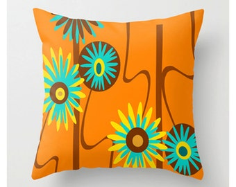 Orange Pillow, Modern Pillow, Modern Throw Pillow, Mid Century Modern Pillow, Floral Pillow, Retro Pillow