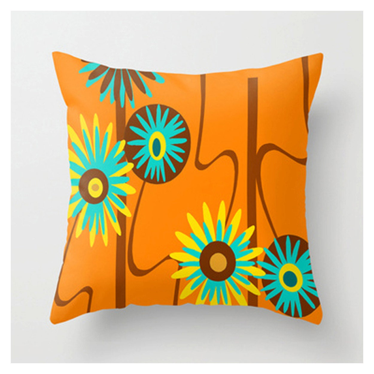 Orange Pillow Modern Pillow Modern Throw Pillow Mid Century