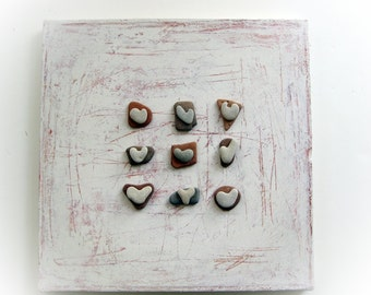 Unique Home Decor, Beach house Wall Hanging, Pebble Art, Beach House Decor, Heart Shaped Beach Rocks, House Blessings, 3D wall decor, israel