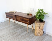 ONE READY to SHIP Tv Stand With Sliding Doors Walnut Media Console Mid Century