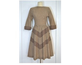 1940's/1950's Vintage Dress, Tan and Taupe Wool Dress by R & K Original
